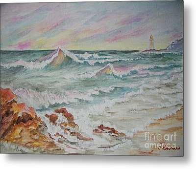 Shoreline Breakers Metal Print by Carol Grimes