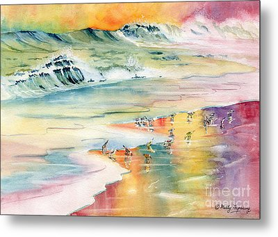 Shoreline Watercolor Metal Print