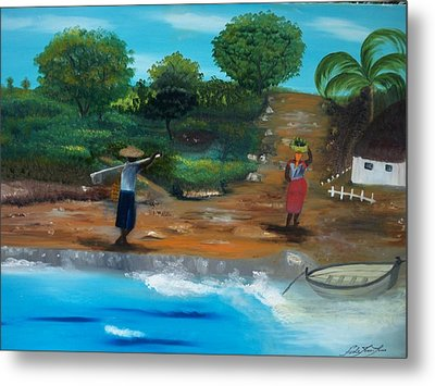 Metal Print featuring the painting Shortcut By The Beach by Nicole Jean-Louis