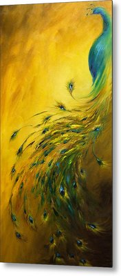 Show Off 1 Vertical Peacock Metal Print by Dina Dargo