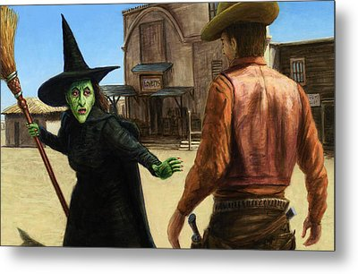 Metal Print featuring the painting Showdown by James W Johnson