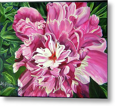 Metal Print featuring the painting Showy Pink Peony by Lee Nixon