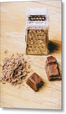 Shredded Chocolate Flakes Fine Art Drawing Metal Print