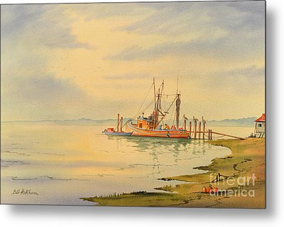 Metal Print featuring the painting Shrimp Boat Sunset by Bill Holkham