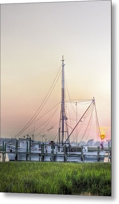 Shrimp Boat Sunset Metal Print by Drew Castelhano