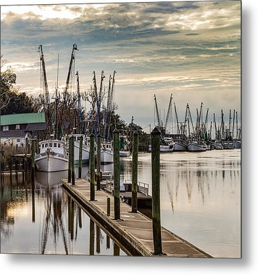 Shrimp Boats On Darien River Metal Print by Capt Gerry Hare