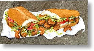 Shrimp On French Dressed Metal Print by Elaine Hodges