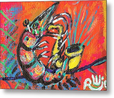 Shrimp On Sax Metal Print by Robert Wolverton Jr