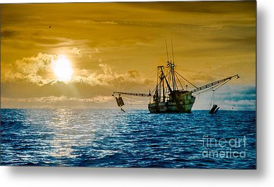 Shrimp Trawler At Dawn Metal Print by Jim DeLillo