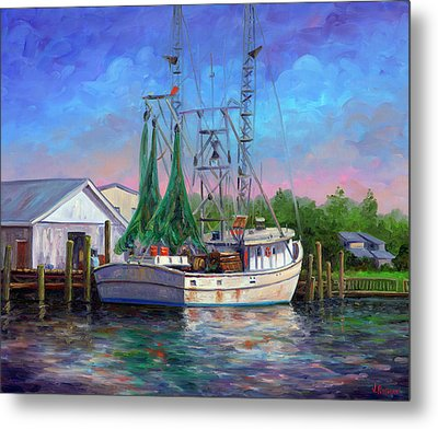 Shrimper At Harbor Metal Print by Jeff Pittman