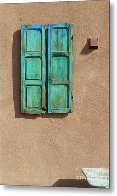 Shutter And Bench Metal Print by Ann Johndro-Collins