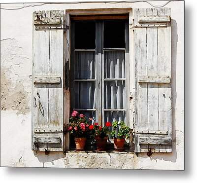 Shutters And Geraniums Metal Print by Marion McCristall