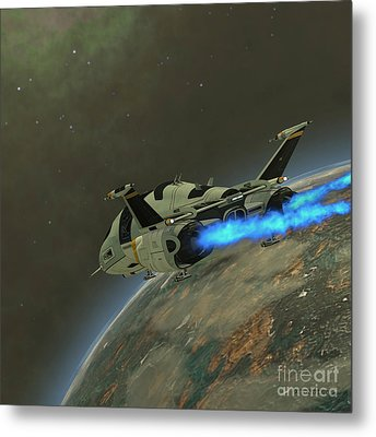 Shuttlestar Transport Metal Print by Corey Ford
