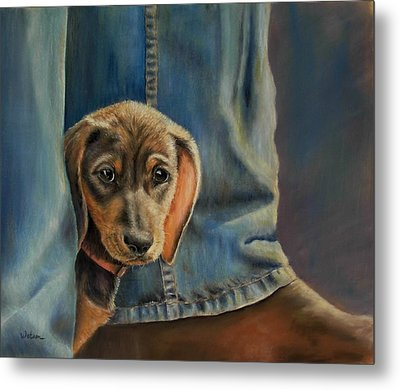 Metal Print featuring the painting Shy Boy by Ceci Watson