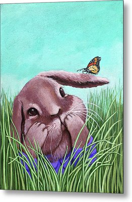 Shy Bunny - Original Painting Metal Print by Linda Apple