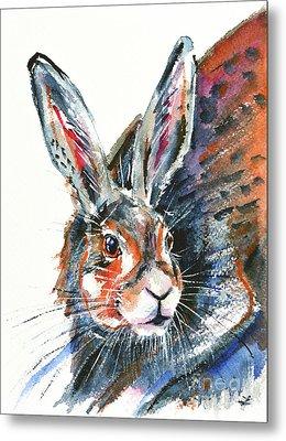 Metal Print featuring the painting Shy Hare by Zaira Dzhaubaeva