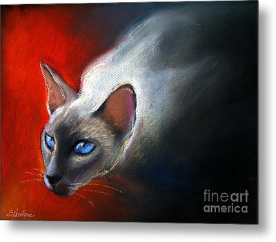 Siamese Cat 7 Painting Metal Print by Svetlana Novikova