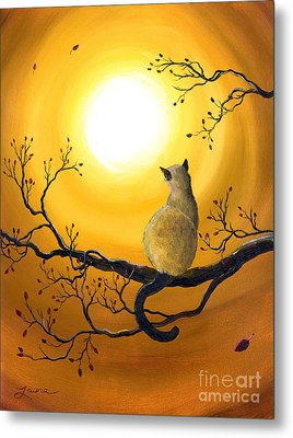 Siamese Cat In Autumn Glow Metal Print by Laura Iverson