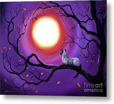 Siamese Cat In Purple Moonlight Metal Print