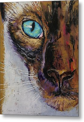 Siamese Cat Painting Metal Print