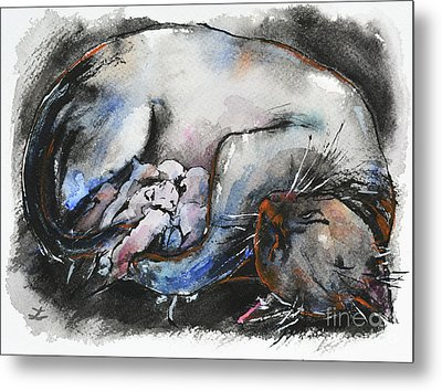 Metal Print featuring the painting Siamese Cat With Kittens by Zaira Dzhaubaeva