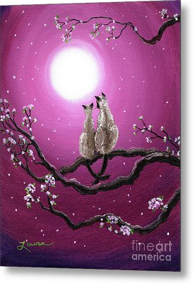 Siamese Cats In Spring Blossoms Metal Print by Laura Iverson
