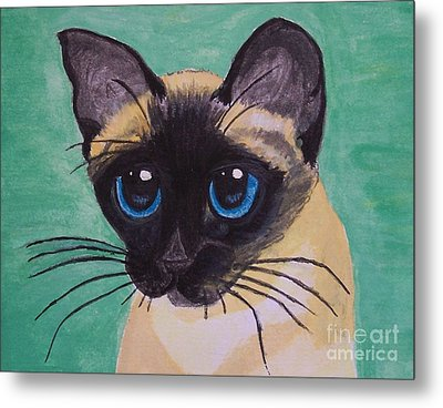 Metal Print featuring the painting Siamese by Leslie Allen