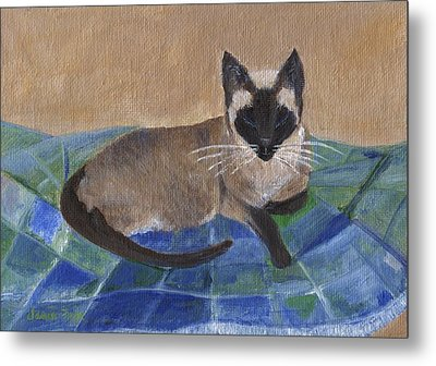 Metal Print featuring the painting Siamese Nap by Jamie Frier