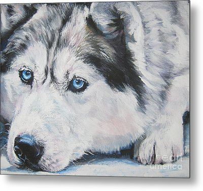 Siberian Husky Up Close Metal Print by Lee Ann Shepard