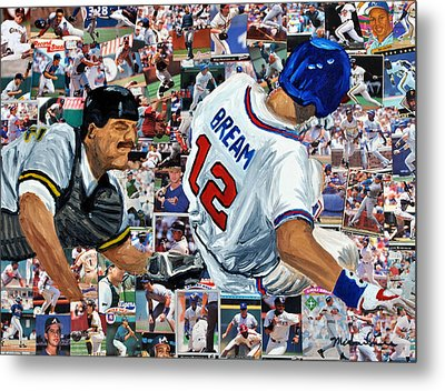 Sid Bream Slide Metal Print by Michael Lee