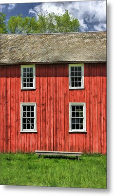 Side Of Barn And Windows At Old World Wisconsin Metal Print by Christopher Arndt