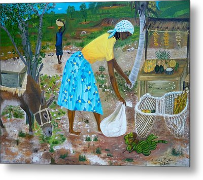 Metal Print featuring the painting Sideroad  Merchant 2 by Nicole Jean-Louis