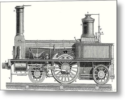 Sideview Of An Old Fashioned Locomotive Showing The Mechanism Of The Engine Metal Print