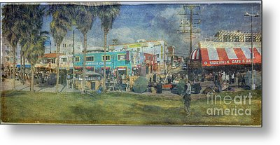 Metal Print featuring the photograph Sidewalk Cafe Venice Ca Panorama  by David Zanzinger