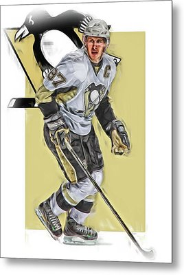 Sidney Crosby Pittsburgh Penguins Oil Art Metal Print