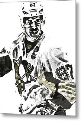 Sidney Crosby Pittsburgh Penguins Pixel Art 4 Metal Print by Joe Hamilton