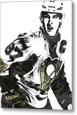 Sidney Crosby Pittsburgh Penguins Pixel Art Metal Print by Joe Hamilton