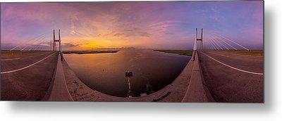 Sidney Lanier Bridge Twilight Panorama Metal Print by Chris Bordeleau