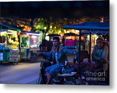 Siem Reap Night Tuk Tuk Driver Metal Print