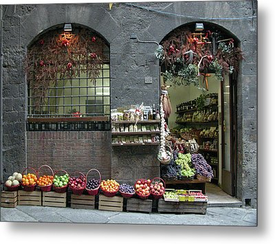 Metal Print featuring the photograph Siena Italy Fruit Shop by Mark Czerniec