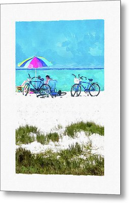Siesta Key Beach Bikes Metal Print