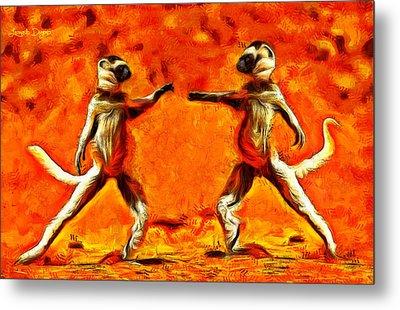 Sifaka Dancers - Da Metal Print by Leonardo Digenio
