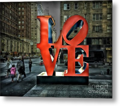 Metal Print featuring the photograph Sights In New York City - Love Statue by Walt Foegelle
