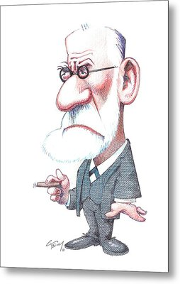 Sigmund Freud, Caricature Metal Print by Gary Brown