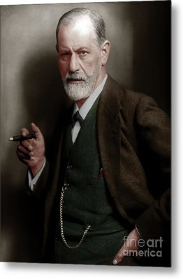 Sigmund Freud Colorized 20170520 Metal Print by Wingsdomain Art and Photography