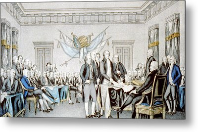 Signing The Declaration Of Independence Metal Print by American School