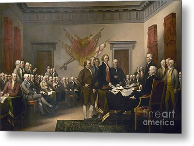Signing The Declaration Of Independence, July 4th, 1776 Metal Print by John Trumbull
