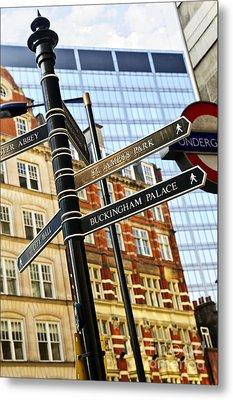 Signpost In London Metal Print by Elena Elisseeva