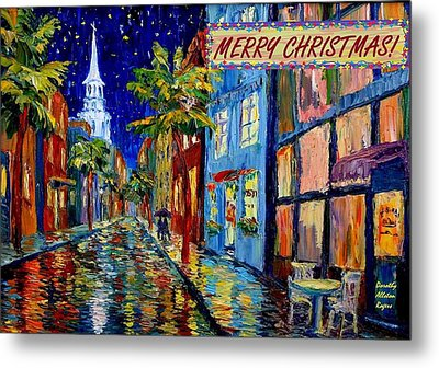 Silent Night Christmas Card Metal Print by Dorothy Allston Rogers