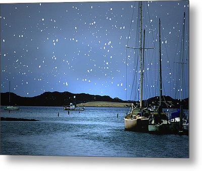 Silent Night Harbor Metal Print by Stephanie Laird